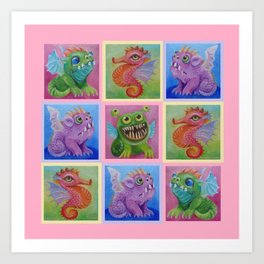 Baby Dragon Colorful pastel painting collage Art Print