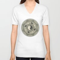 yin yang V-neck T-shirts featuring Yin Yang by TypicalArtGuy