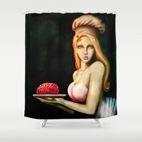 cooking Shower Curtains featuring Cooking for zombies by Thiago García