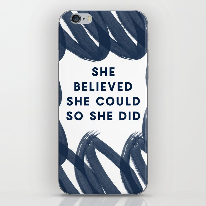 She Believed She Could So She Did-Navy | Inspiration | Quotes iPhone Skin