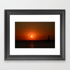 A Sunset With Lady Liberty Framed Art Print