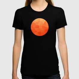 Abstract Geometric Gradient Pattern between Pure Red and very light Orange T-shirt