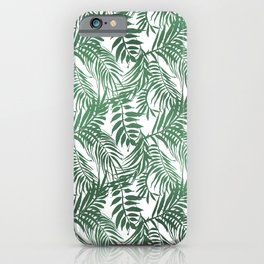 Modern forest green white palm tree greenery iPhone Case