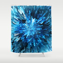 Extended Rectangles - Blue Shower Curtain