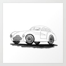 retro car on white background Art Print