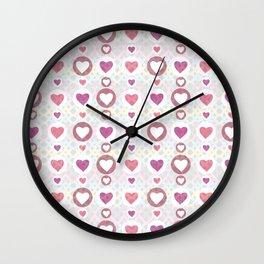 Pink hearts Wall Clock