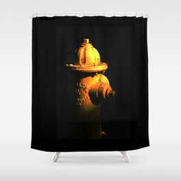 Fire Hydrant Orange and Black Art - Hot - Sharon Cummings Shower Curtain