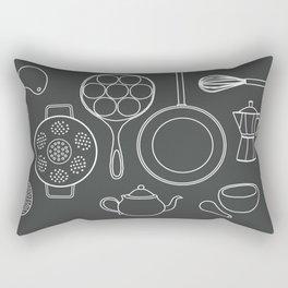 kitchen tools (white on black) Rectangular Pillow