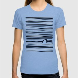 Minimal Line Drawing Simple Unique Shark Fin Gift T-shirt