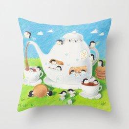 The Teapot Penguins Throw Pillow