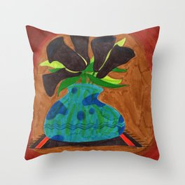 Black Calla Lilies in Blue Vase Throw Pillow