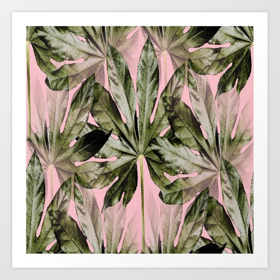 Large green leaves on a pink background - beautiful colors Art Print