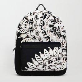 Metallic White Floral Mandala on Black Background Backpack