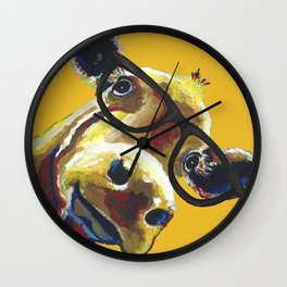 Yellow Glasses Cow, Cow up close glasses Wall Clock