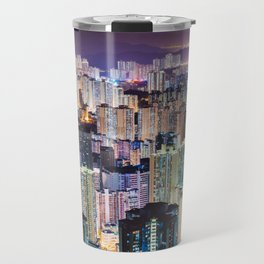 Kam Shan Country Park City-scape, Hong Kong nighttime portrait #1 Travel Mug