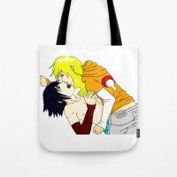 sasuke Tote Bags featuring Sasuke y Liara by rosalia