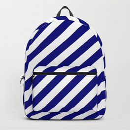 Navy Blue and White Candy Cane Stripes Backpack