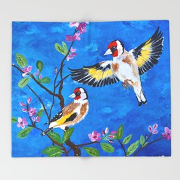 Goldfinches Throw Blanket