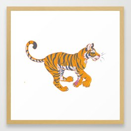 Running Bengal Tiger Framed Art Print