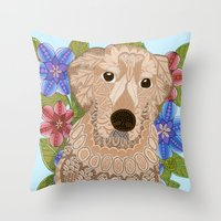 golden retriever Throw Pillows featuring Golden Retriever by ArtLovePassion