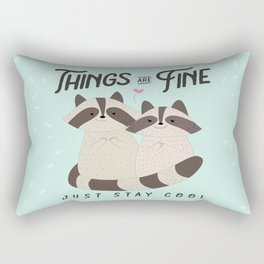 Lovely raccoons card, Things are fine, just stay cool Rectangular Pillow