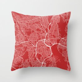 Providence Map, USA - Red Throw Pillow