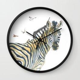Zebra and Birds Wall Clock