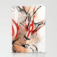 okami Stationery Cards featuring Okami Amaterasu Ink by Rubis Firenos