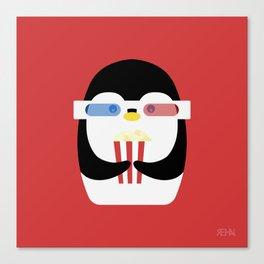 Penguin + Movie Time Canvas Print
