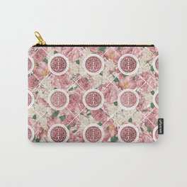 Double Happiness Symbol on Gentle Peony pattern Carry-All Pouch