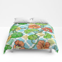 Climbing Nasturtiums on Blue and White Comforters