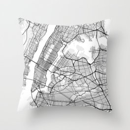 New York City Map of United States Throw Pillow