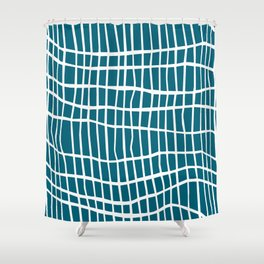 Net White on Blue Shower Curtain