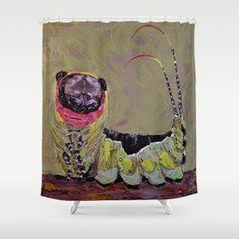 Smiling caterpillar Shower Curtain