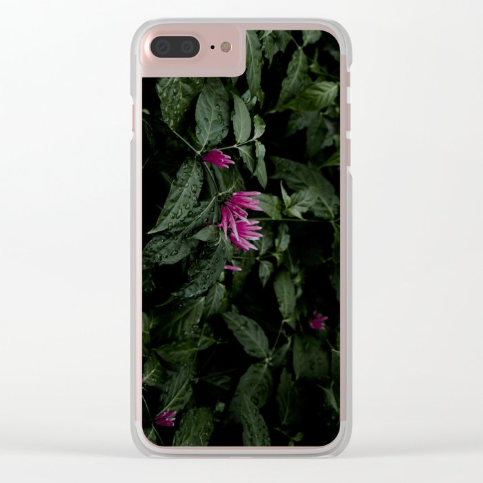 Tropical Flowers Clear iPhone Case