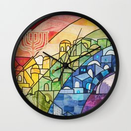 Jerusalem Rainbow Wall Clock