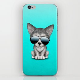 Cute Baby Wolf Cub Wearing Sunglasses iPhone Skin