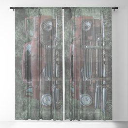 Rust Covered Classic Car Abandoned in Forest Sheer Curtain