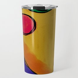 Colorful Abstract Face Digital Painting Travel Mug