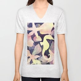 Seahorse Negative Watercolor Painting Unisex V-Neck