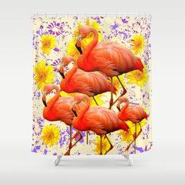 MODERN CREAM-YELLOW ART FLAMINGO  FLORAL PURPLE  ABSTRAC Shower Curtain