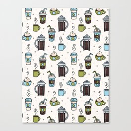 Vector coffee seamless repeat pattern illustration different caffeine drinks Canvas Print