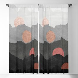 Mountains and the Moon - Black - Silver - Copper - Gold - Rose Gold Blackout Curtain