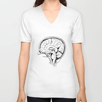 brain V-neck T-shirts featuring Brain by Etiquette