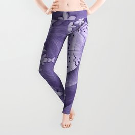 Flowers and butterfly with swirling fractal Leggings