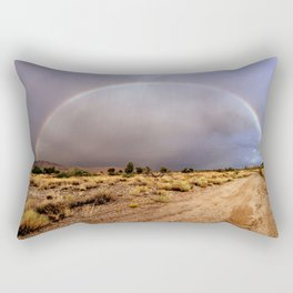 Rainbow across a dirt road near the settlement of Antares in northwestern Arizona Rectangular Pillow