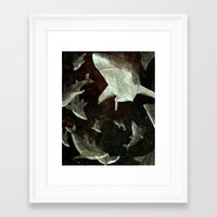 sharks Framed Art Prints featuring sharks by Lara Paulussen