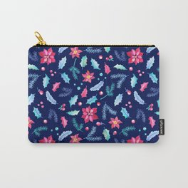 Christmas Poinsettia and Holly Jolly leaf. Festive Watercolor Pattern for Winter Holiday Carry-All Pouch