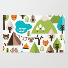 Wild camping trip with fox and wild animals illustration Rug