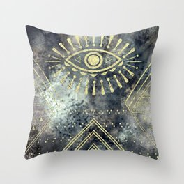 Evil Eye Gold Throw Pillow